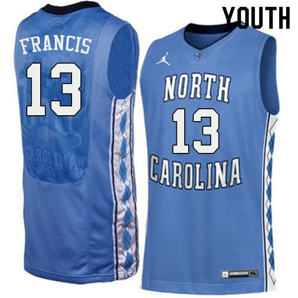 Youth #13 Jeremiah Francis North Carolina Tar Heels College Basketball Jerseys Sale-Blue