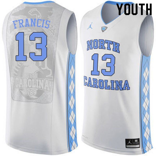 Youth #13 Jeremiah Francis North Carolina Tar Heels College Basketball Jerseys Sale-White