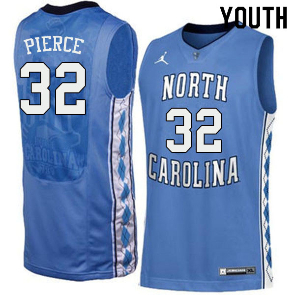 Youth #32 Justin Pierce North Carolina Tar Heels College Basketball Jerseys Sale-Blue