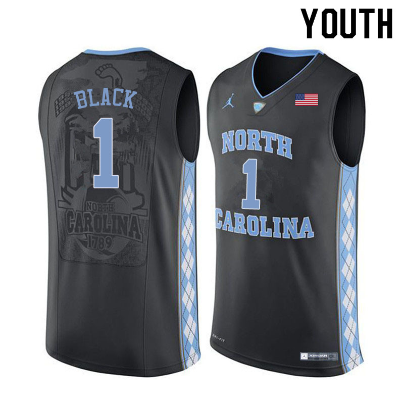 Youth #1 Leaky Black North Carolina Tar Heels College Basketball Jerseys Sale-Black