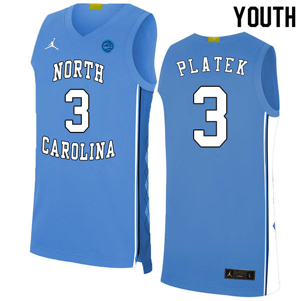 2020 Youth #3 Andrew Platek North Carolina Tar Heels College Basketball Jerseys Sale-Blue