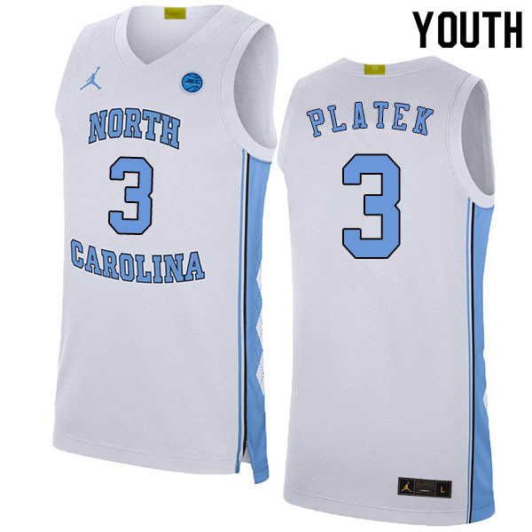 2020 Youth #3 Andrew Platek North Carolina Tar Heels College Basketball Jerseys Sale-White