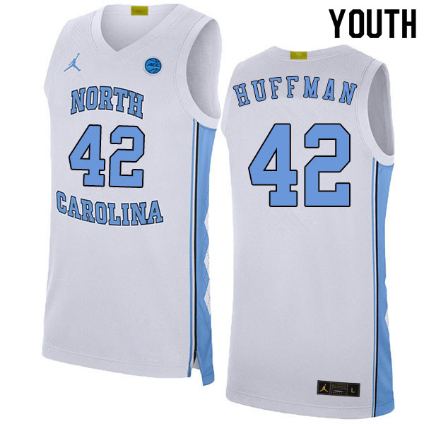 2020 Youth #42 Brandon Huffman North Carolina Tar Heels College Basketball Jerseys Sale-White