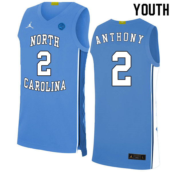 2020 Youth #2 Cole Anthony North Carolina Tar Heels College Basketball Jerseys Sale-Blue