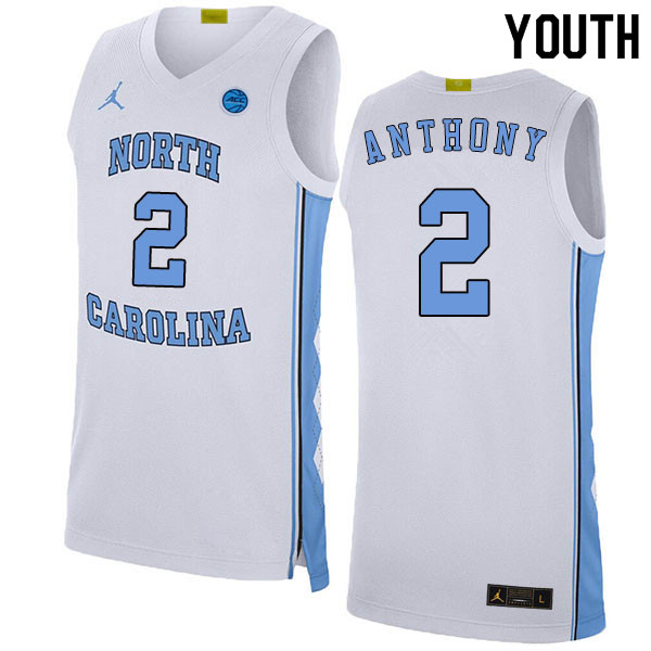 2020 Youth #2 Cole Anthony North Carolina Tar Heels College Basketball Jerseys Sale-White