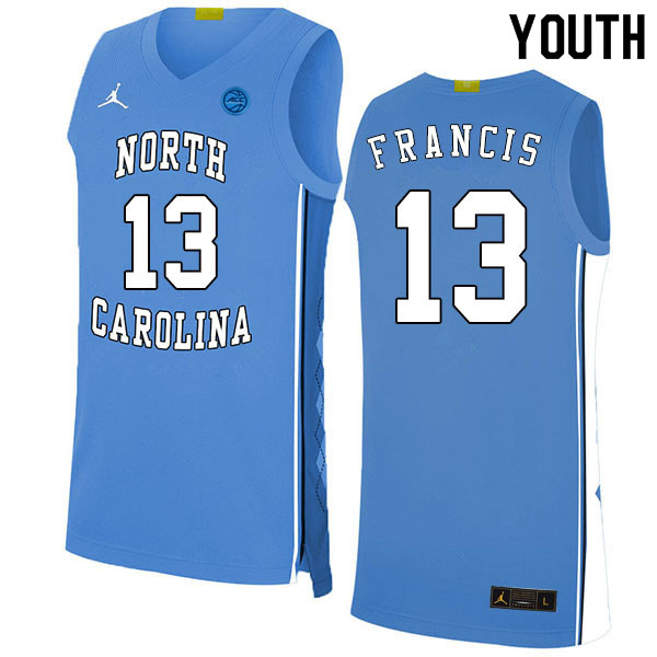 2020 Youth #13 Jeremiah Francis North Carolina Tar Heels College Basketball Jerseys Sale-Blue