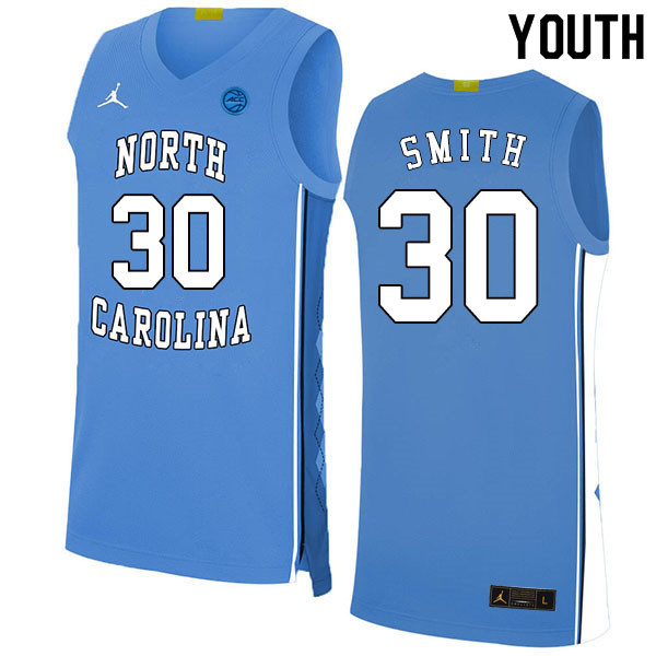 2020 Youth #30 K.J. Smith North Carolina Tar Heels College Basketball Jerseys Sale-Blue