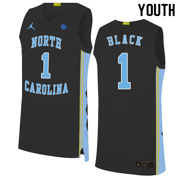 2020 Youth #1 Leaky Black North Carolina Tar Heels College Basketball Jerseys Sale-Black