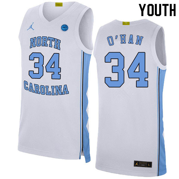 2020 Youth #34 Robbie O'Han North Carolina Tar Heels College Basketball Jerseys Sale-White