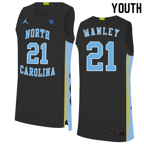 2020 Youth #21 Sterling Manley North Carolina Tar Heels College Basketball Jerseys Sale-Black