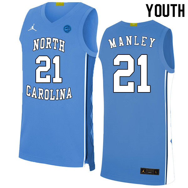 2020 Youth #21 Sterling Manley North Carolina Tar Heels College Basketball Jerseys Sale-Blue