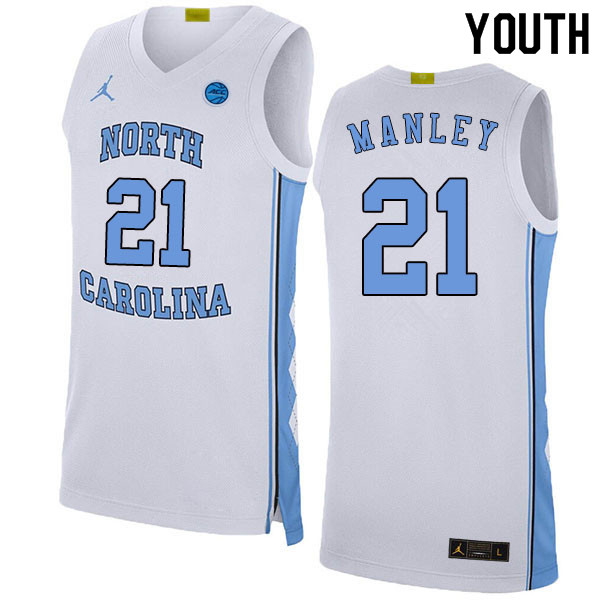 2020 Youth #21 Sterling Manley North Carolina Tar Heels College Basketball Jerseys Sale-White