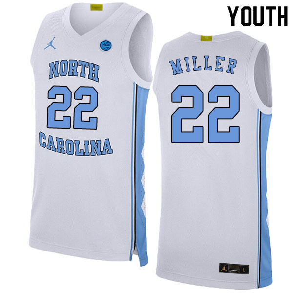 2020 Youth #22 Walker Miller North Carolina Tar Heels College Basketball Jerseys Sale-White