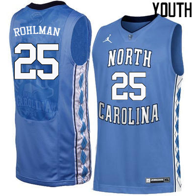 Youth North Carolina Tar Heels #25 Aaron Rohlman College Basketball Jerseys Sale-Blue