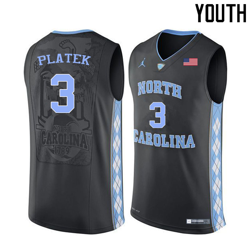 Youth #3 Andrew Platek North Carolina Tar Heels College Basketball Jerseys Sale-Black
