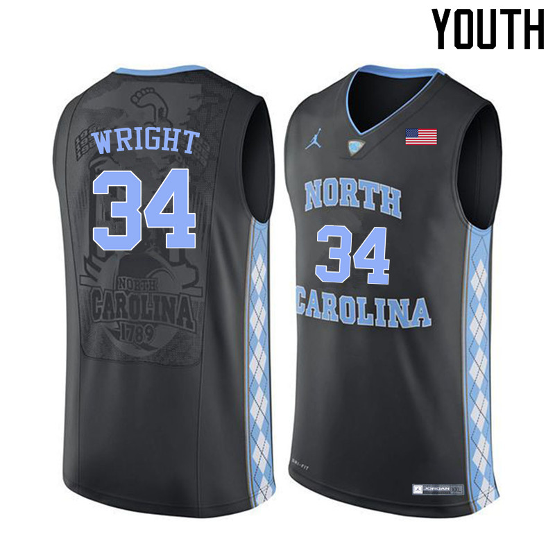 Youth North Carolina Tar Heels #34 Brandan Wright College Basketball Jerseys Sale-Black