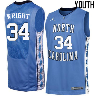 Youth North Carolina Tar Heels #34 Brandan Wright College Basketball Jerseys Sale-Blue