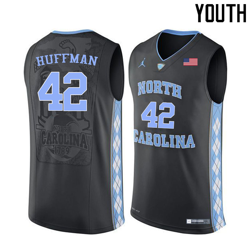 Youth #42 Brandon Huffman North Carolina Tar Heels College Basketball Jerseys Sale-Black