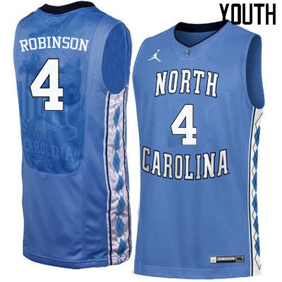 Youth #4 Brandon Robinson North Carolina Tar Heels College Basketball Jerseys Sale-Blue