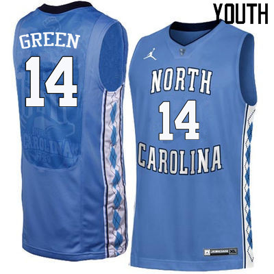 Youth North Carolina Tar Heels #14 Danny Green College Basketball Jerseys Sale-Blue