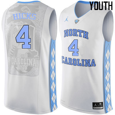 Youth North Carolina Tar Heels #4 Isaiah Hicks College Basketball Jerseys Sale-White