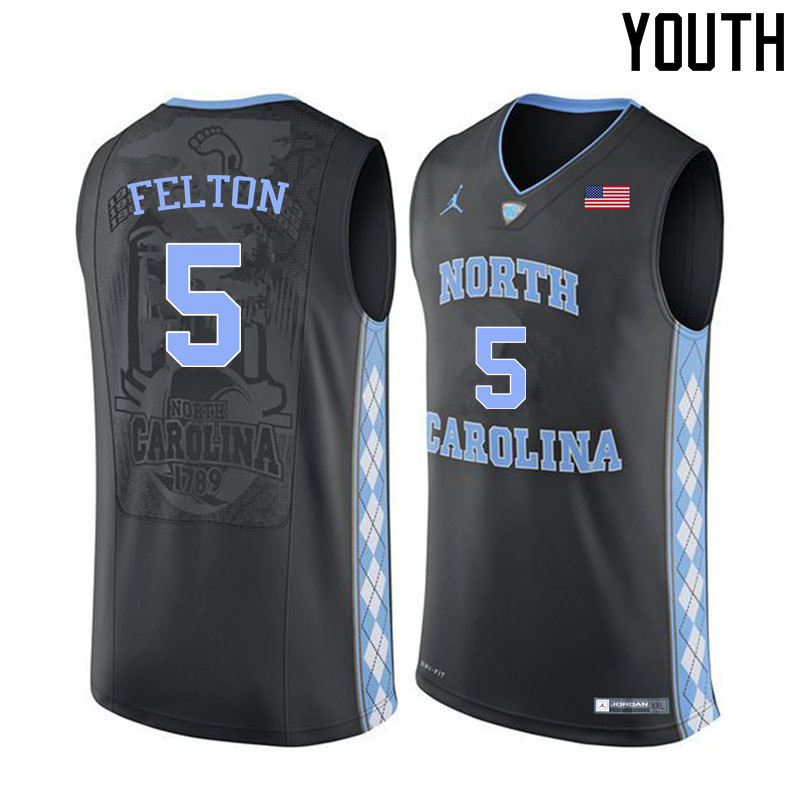 Youth #5 Jalek Felton North Carolina Tar Heels College Basketball Jerseys Sale-Black