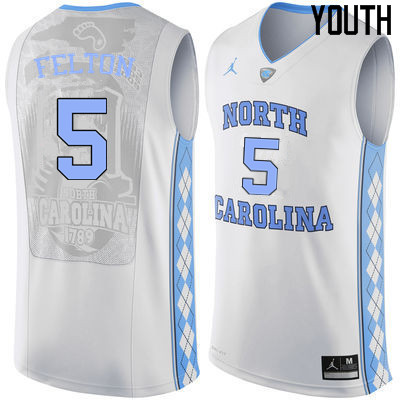 Youth #5 Jalek Felton North Carolina Tar Heels College Basketball Jerseys Sale-White