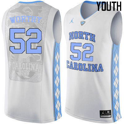Youth North Carolina Tar Heels #52 James Worthy College Basketball Jerseys Sale-White