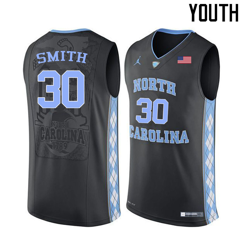 Youth #30 K.J. Smith North Carolina Tar Heels College Basketball Jerseys Sale-Black