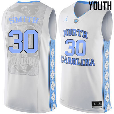 Youth #30 K.J. Smith North Carolina Tar Heels College Basketball Jerseys Sale-White