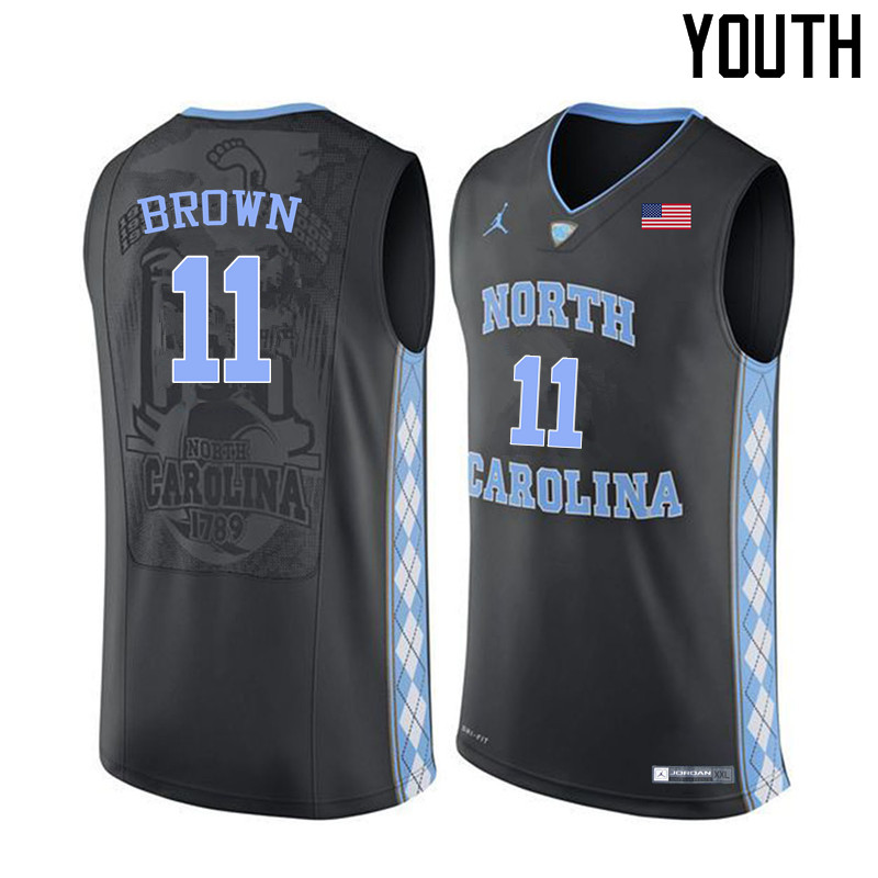 Youth North Carolina Tar Heels #11 Larry Brown College Basketball Jerseys Sale-Black