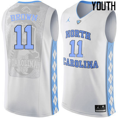Youth North Carolina Tar Heels #11 Larry Brown College Basketball Jerseys Sale-White