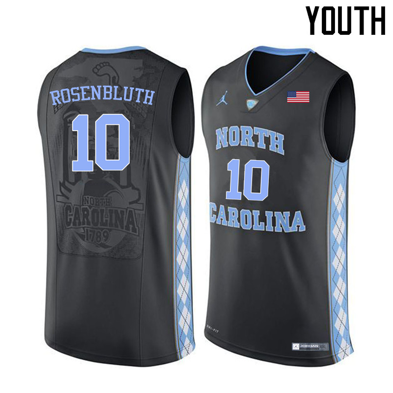 Youth North Carolina Tar Heels #10 Lennie Rosenbluth College Basketball Jerseys Sale-Black