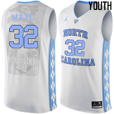 Youth North Carolina Tar Heels #32 Luke Maye College Basketball Jerseys Sale-White