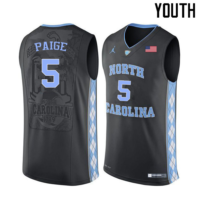 Youth North Carolina Tar Heels #5 Marcus Paige College Basketball Jerseys Sale-Black