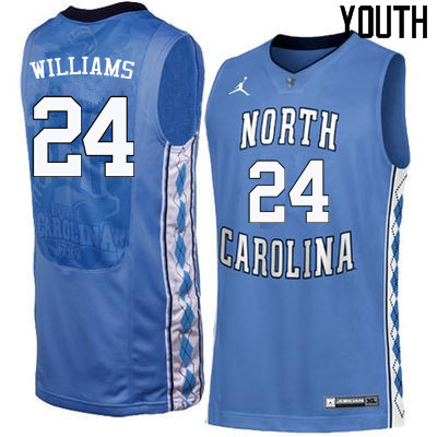 Youth North Carolina Tar Heels #24 Marvin Williams College Basketball Jerseys Sale-Blue