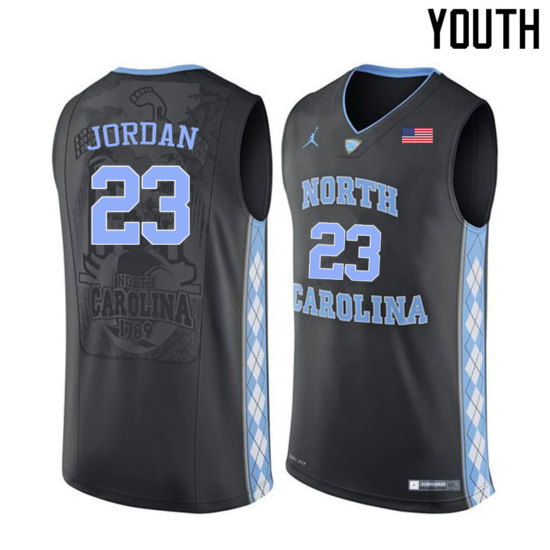 Youth North Carolina Tar Heels #23 Michael Jordan College Basketball Jerseys Sale-Black