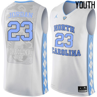 Youth North Carolina Tar Heels #23 Michael Jordan College Basketball Jerseys Sale-White