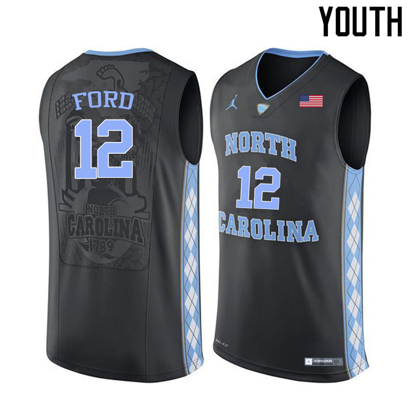 Youth North Carolina Tar Heels #12 Phil Ford College Basketball Jerseys Sale-Black