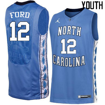 Youth North Carolina Tar Heels #12 Phil Ford College Basketball Jerseys Sale-Blue
