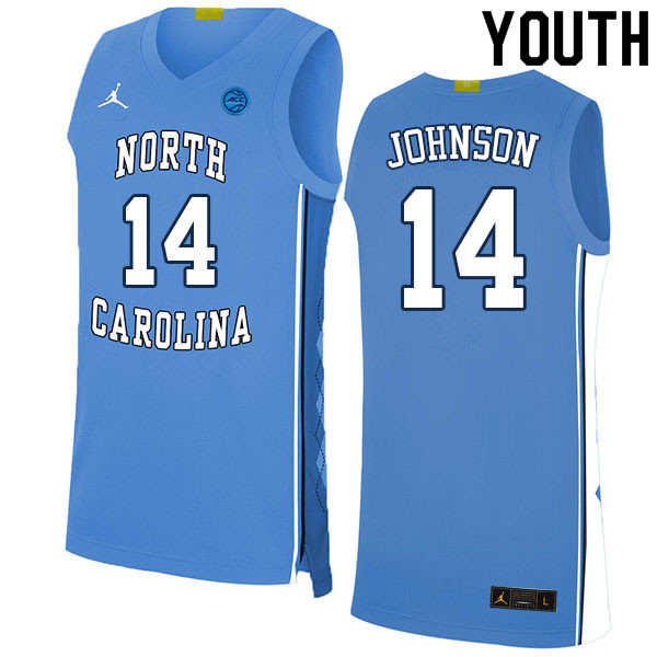 Youth #14 Puff Johnson North Carolina Tar Heels College Basketball Jerseys Sale-Blue