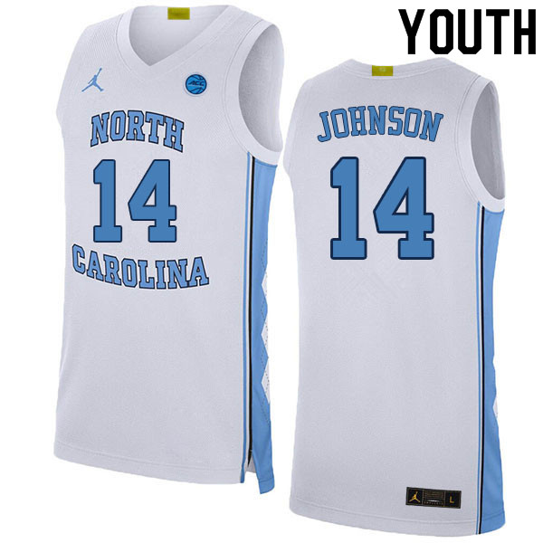 Youth #14 Puff Johnson North Carolina Tar Heels College Basketball Jerseys Sale-White