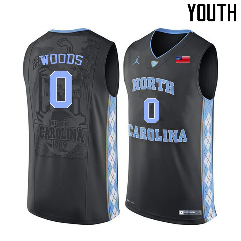 Youth #0 Seventh Woods North Carolina Tar Heels College Basketball Jerseys Sale-Black