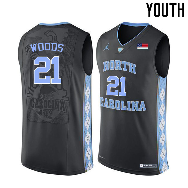 Youth North Carolina Tar Heels #21 Seventh Woods College Basketball Jerseys Sale-Black