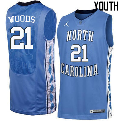 Youth North Carolina Tar Heels #21 Seventh Woods College Basketball Jerseys Sale-Blue