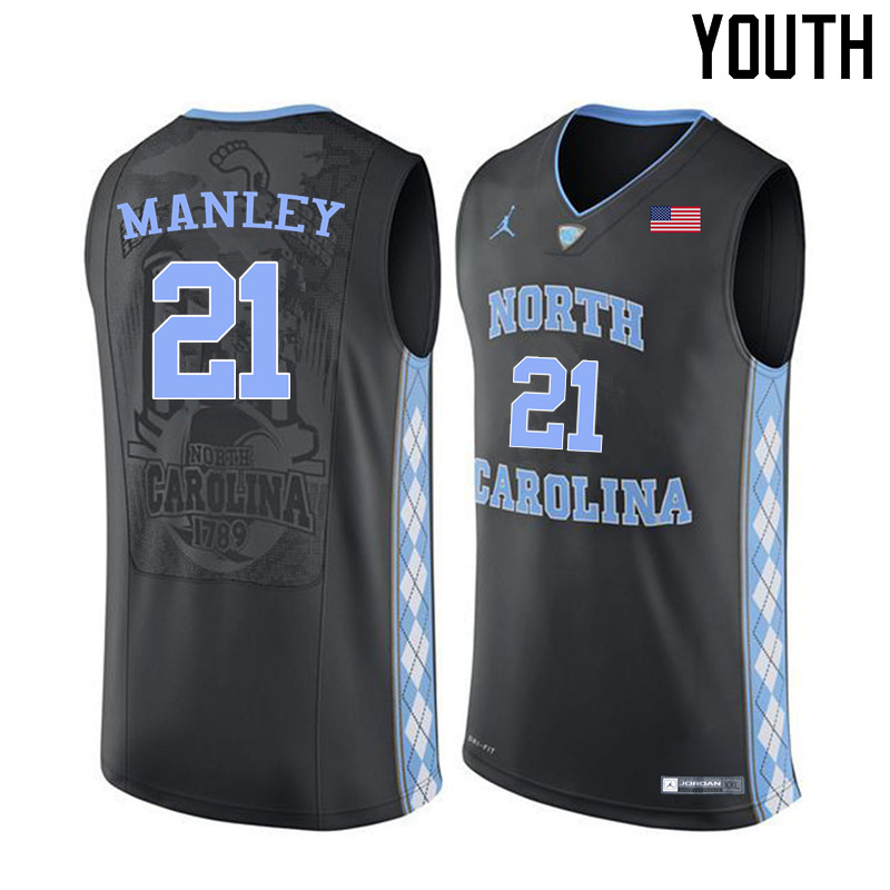 Youth #21 Sterling Manley North Carolina Tar Heels College Basketball Jerseys Sale-Black