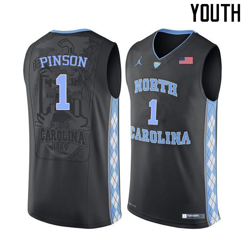 Youth North Carolina Tar Heels #1 Theo Pinson College Basketball Jerseys Sale-Black
