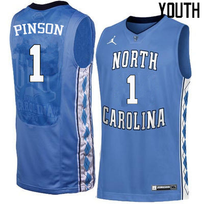 Youth North Carolina Tar Heels #1 Theo Pinson College Basketball Jerseys Sale-Blue