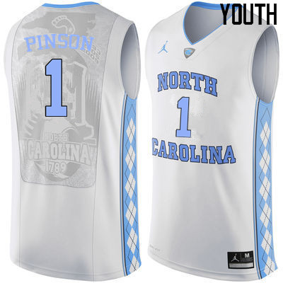Youth North Carolina Tar Heels #1 Theo Pinson College Basketball Jerseys Sale-White