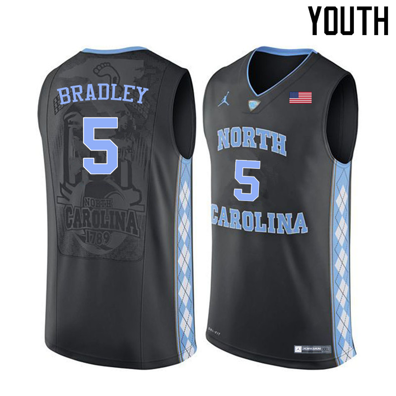 Youth North Carolina Tar Heels #5 Tony Bradley College Basketball Jerseys Sale-Black